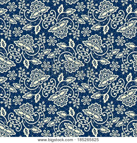 Seamless beige and dark blue lace background with floral pattern