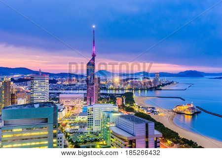 Fukuoka, Japan downtown city skyline.