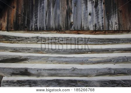 The side of a log cabin.barn in Sleeping Bear Dunes National Lakeshore, Michigan