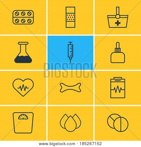 Vector Illustration Of 12 Medical Icons. Editable Pack Of Heart Rhythm, Pills, Trickle And Other Elements.