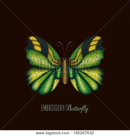 Embroidery tropical green, yellow butterfly design for clothing. Vector illustration satin stitch texture isolated on black background.
