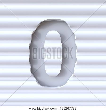 Cut Out Font In Wave Surface Number 0 Zero 3D