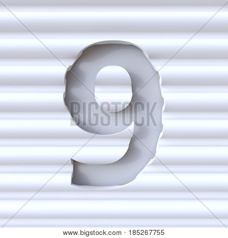 Cut Out Font In Wave Surface Number 9 Nine 3D