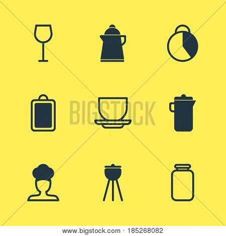 Vector Illustration Of 9 Restaurant Icons. Editable Pack Of Jug, Timekeeper, Wine And Other Elements.