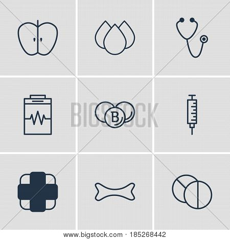 Vector Illustration Of 9 Medical Icons. Editable Pack Of Osseous, Treatment, Painkiller And Other Elements.