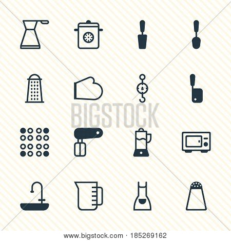 Vector Illustration Of 16 Kitchenware Icons. Editable Pack Of Whisk, Smock, Pepper Container And Other Elements.