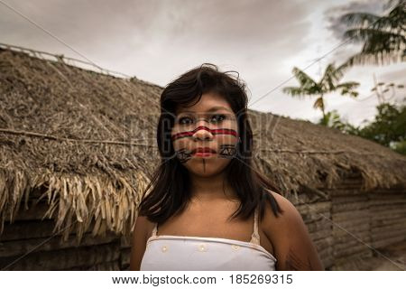 Brazilian Native Girl from Tupi Guarani Tribe, Brazil