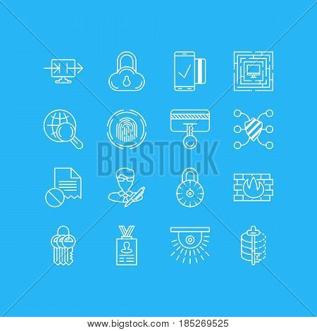 Vector Illustration Of 16 Privacy Icons. Editable Pack Of Internet Surfing, Encoder, Camera And Other Elements.