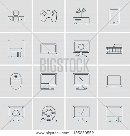 Vector Illustration Of 16 Notebook Icons. Editable Pack Of Access Denied, Diskette, Gamepad And Other Elements.