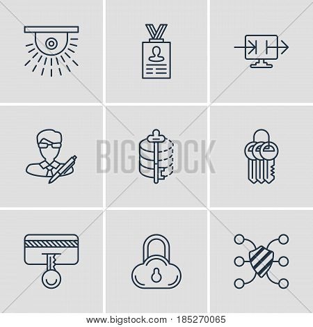Vector Illustration Of 9 Web Safety Icons. Editable Pack Of Encoder, Safety Key, Copyright And Other Elements.