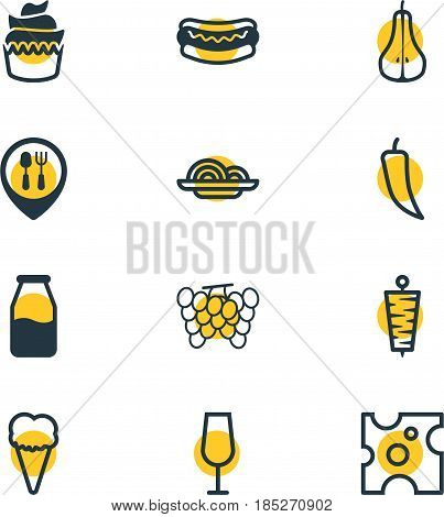 Vector Illustration Of 12 Food Icons. Editable Pack Of Cruet, Dessert, Meat And Other Elements.