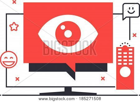 Multitone Icon, Television Advertisement Background And Graphic