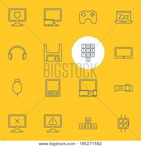 Vector Illustration Of 16 Notebook Icons. Editable Pack Of Keyboard, Gadgets, Presentation And Other Elements.