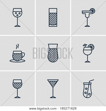 Vector Illustration Of 9  Icons. Editable Pack Of Martini, Wineglass, Aqua And Other Elements.