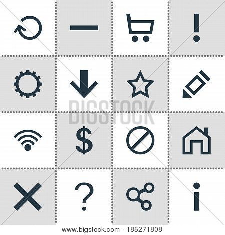Vector Illustration Of 16 Interface Icons. Editable Pack Of Alert, Renovate, Minus And Other Elements.