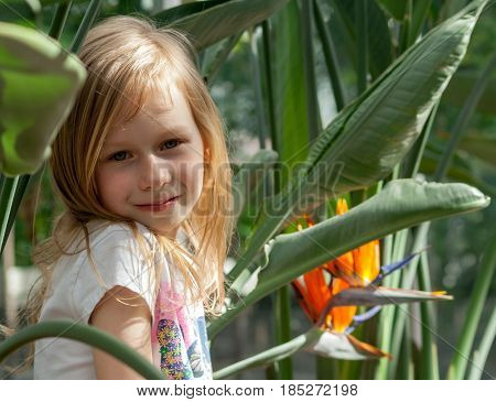 portrait, little girl seven years, sits next strelitzia flower botanical garden, looks into camera, sweet  smiling, long wheat hair, happy child, sunny, bright day,white shirt, tilted head shoulder