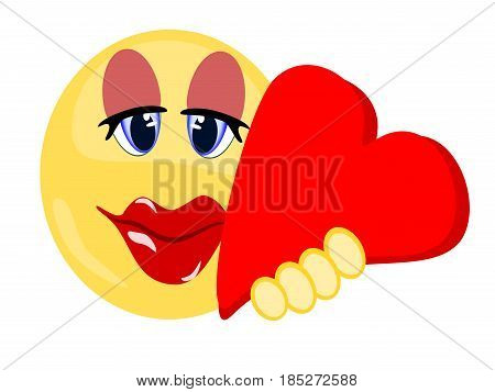 Emoji yellow isolated female holding red heart showing love