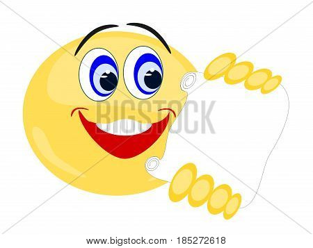 Emoji isolated yellow with smiling facial expression reading paper held in hands