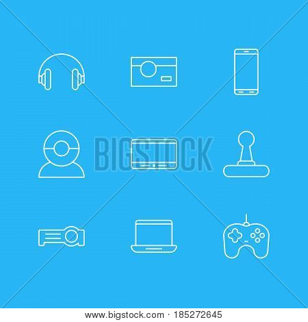 Vector Illustration Of 9 Hardware Icons. Editable Pack Of Photography, Joypad, Computer And Other Elements.