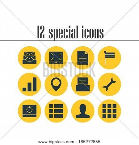 Vector Illustration Of 12 Internet Icons. Editable Pack Of List, Increase Chart, Maximize And Other Elements.