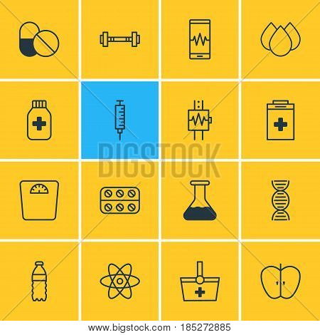 Vector Illustration Of 16 Medical Icons. Editable Pack Of Dumbbell, Exigency, Phone Monitor And Other Elements.