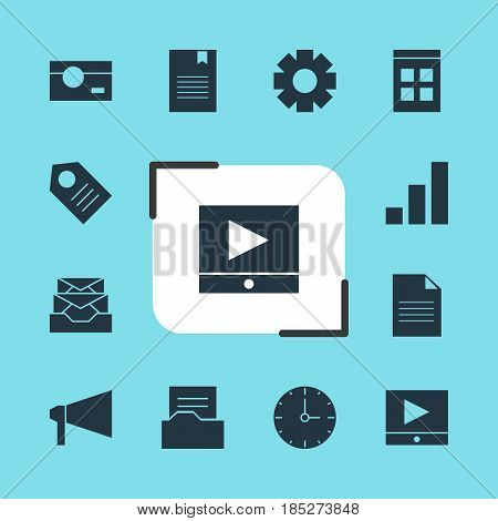 Vector Illustration Of 12 Web Icons. Editable Pack Of Date Time, Document, Bookmark And Other Elements.