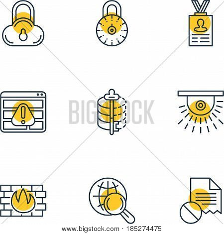 Vector Illustration Of 9 Internet Security Icons. Editable Pack Of Account Data, Encoder, Camera And Other Elements.