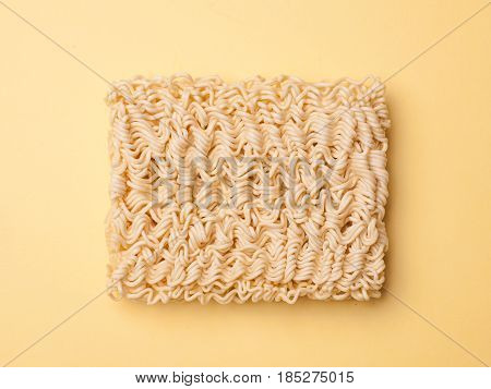 Instant Noodle Ramen Isolated On Yellow Background