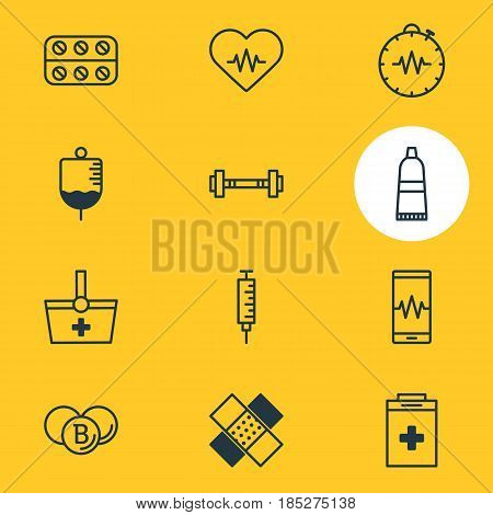 Vector Illustration Of 12 Medicine Icons. Editable Pack Of Patch, Antibody, Pressure Gauge And Other Elements.