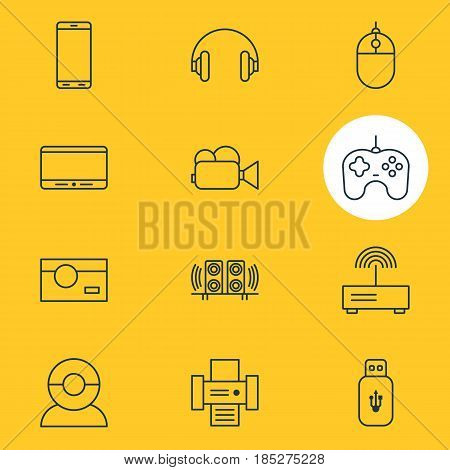 Vector Illustration Of 12 Gadget Icons. Editable Pack Of Loudspeaker, Joypad, Headset And Other Elements.