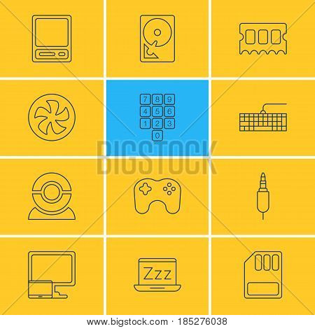 Vector Illustration Of 12 Computer Icons. Editable Pack Of Gamepad, Cooler, Web Camera And Other Elements.