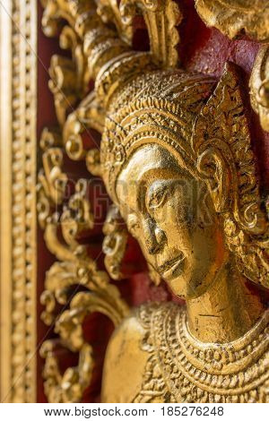 Interior details of the Wat Xieng Thong temple, Luang Prabang, Laos