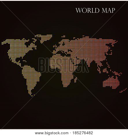 Halftone Dotted World Map with Orange Gradient Overlay. Vector Illustration