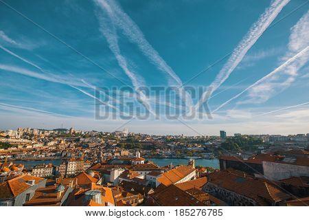 Porto, Portugal, old city and Douro river view.