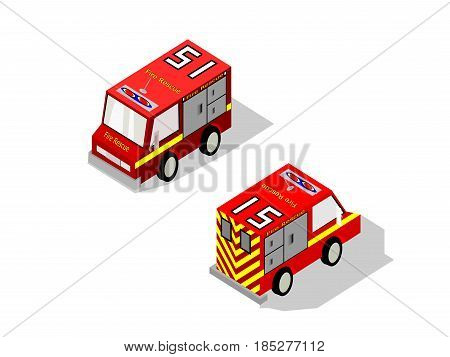 Isometric two isolated fire rescue van with drop shadow and front and rear views
