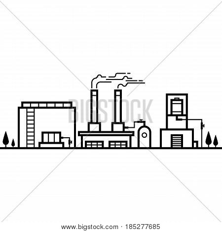 Skyline of factory industry black and white line vector illustration
