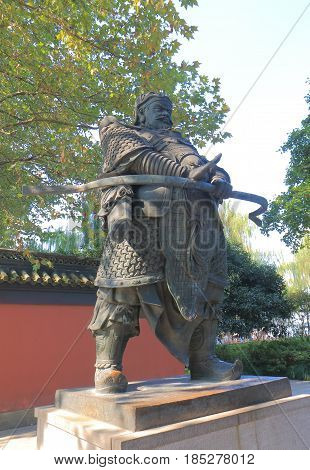 HANGZHOU CHINA - NOVEMBER 5, 2016: King Qian memorial. King Qian memorial is a memorial shrine to the kings of the Wuyue kingdom in the 8th century.