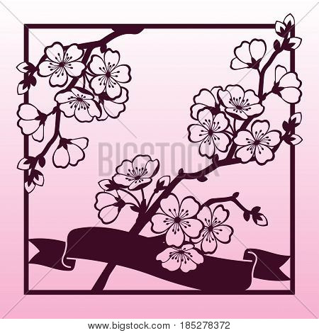 A branch of cherry or sakura blossoms. Laser cutting template suitable for greeting cards invitations covers menus interior decorations.