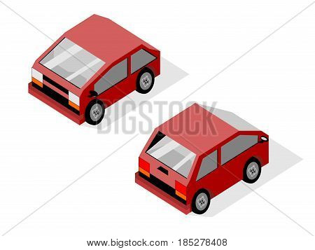 Isometric isolated two  maroon small economical smart car with drop shadow