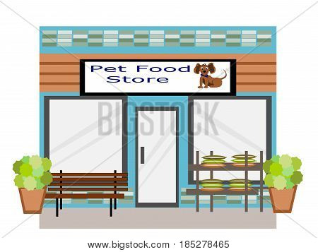 Pet Food Store Exterior Flat Design front view with bench and bags of pet food on stand