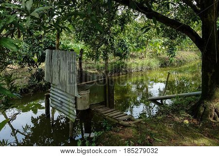 Traditional toilet in a country Viet Nam