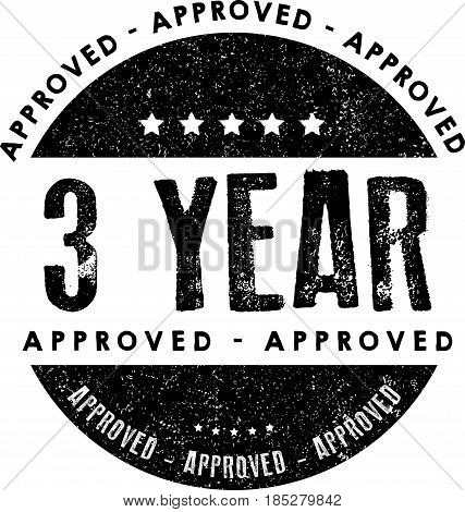 3 year warranty icon vintage rubber stamp guarantee