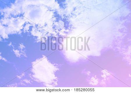 Dreamy Filter : Blue Sky With Sun Behind Big Cloud