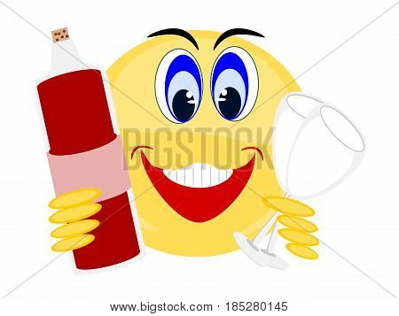Emoji cute happy smiling yellow holding red wine bottle with two empty wine glasses