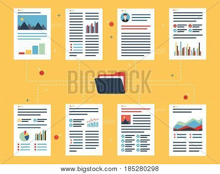 Documents with data and financial information charts and business reports and folder in flat design vector illustration. Concept of data analytics organization strategy and planning.