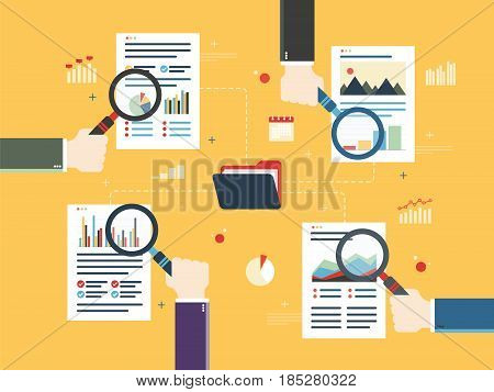 Hands with magnifying glass document with data and charts computer folder in flat design vector illustration. Concept of data analytics teamwork audit business and investment.