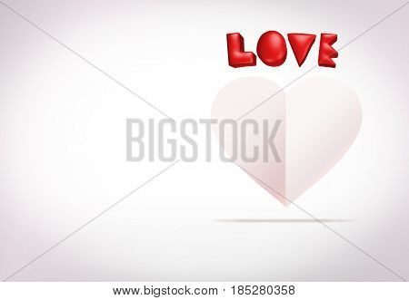 Red 3d love and white paper heart shape floating in studio white room Valentine's concept Leave space for adding your text. 3d rendering