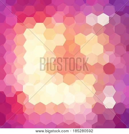 Vector Background With Yellow, Pink Hexagons. Can Be Used In Cover Design, Book Design, Website Back