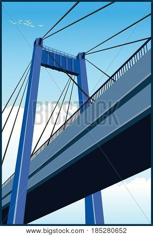 Stylized vector illustration of a large cable-stayed bridge