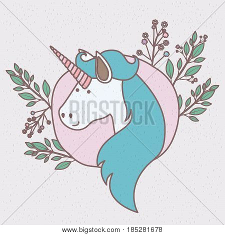 colorful frame with caricature of unicorn face with long mane vector illustration